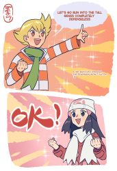 1boy, 1girl, :d, absurdres, artist name, bangs, barry (pokemon), beanie, black hair, blonde hair, blush, clenched hand, clenched hands, coat, commentary, cosmosully, creatures (company), dawn (pokemon), english commentary, english text, eyelashes, game freak, green scarf, hair ornament, hairclip, hat, highres, jacket, long hair, long sleeves, nintendo, open mouth, orange eyes, pokemon, pokemon (game), pokemon dppt, pokemon platinum, red coat, scarf, sidelocks, smile, speech bubble, teeth, white headwear, white scarf