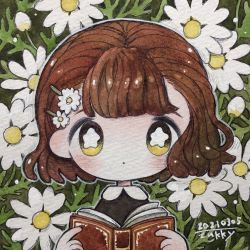 1girl, bangs, blush, book, bright pupils, brown hair, daisy, dated, expressionless, flower, hair flower, hair ornament, hairclip, highres, holding, holding book, no nose, original, outline, plant, short hair, signature, solo, traditional media, upper body, white flower, white outline, white pupils, yellow eyes, zukky000
