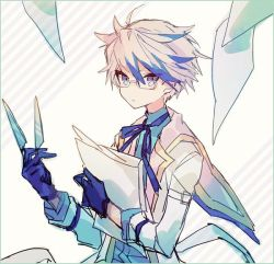 1boy, bangs, blue eyes, blue gloves, blue neckwear, blue shirt, capelet, character request, colored tips, eyebrows visible through hair, glasses, gloves, hair between eyes, hibi89, holding, holding knife, holding paper, holding weapon, jacket, knife, male focus, merc storia, neck ribbon, paper, rectangular eyewear, ribbon, shirt, simple background, solo, striped, striped background, weapon, white capelet, white hair, white jacket