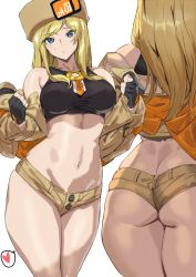 1girl, ashiomi masato, ass, back, bangs, bare shoulders, beige jacket, black gloves, blonde hair, blue eyes, breasts, butt crack, fingerless gloves, fur hat, gloves, guilty gear, guilty gear strive, hat, heart, highres, jacket, large breasts, long hair, long sleeves, looking at viewer, micro shorts, millia rage, off shoulder, open clothes, open jacket, shorts, thighs, ushanka