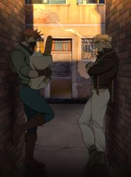 2boys, against wall, alley, alternate costume, backpack, bag, baguette, battle tendency, belt, blonde hair, boots, bread, brick wall, brown belt, brown footwear, brown gloves, brown hair, brown jacket, caesar anthonio zeppeli, catneylang, cigarette, commentary, covered mouth, crack, cracked floor, crossed ankles, crossed arms, denim, english commentary, eyebrows, eyes closed, facial mark, fingerless gloves, food, foot up, from side, full body, gloves, green footwear, green gloves, green jacket, grocery bag, hamon mask, headband, highres, holding, holding bag, jacket, jeans, jojo no kimyou na bouken, joseph joestar (young), knee boots, leaning, looking away, looking down, male focus, mask, mouth hold, multiple boys, multiple sources, outdoors, pants, paper bag, photo background, popped collar, profile, shopping bag, short hair, smoke, smoking, standing, standing on one leg, thick eyebrows, triangle print, wall, white pants, wing hair ornament