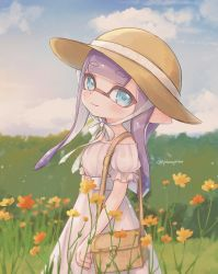 1girl, bag, bangs, blue eyes, blue sky, blunt bangs, blunt ends, brown headwear, carrying, closed mouth, cloud, cloudy sky, commentary, day, domino mask, dress, eyebrows visible through hair, flower, frilled sleeves, frills, handbag, hat, hat ribbon, highres, inkling, long dress, long hair, looking at viewer, mask, nintendo, off-shoulder dress, off shoulder, outdoors, pioxpioo, pointy ears, purple hair, ribbon, short sleeves, sky, smile, solo, splatoon (series), standing, sun hat, tentacle hair, twitter username, white dress, white ribbon, wind, yellow flower