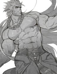 1boy, abs, bara, bead necklace, beads, beard, biceps, bulge, character request, check copyright, chest hair, copyright request, dutch angle, facial hair, feet out of frame, gomtang, greyscale, jewelry, large pectorals, leaning to the side, long hair, male focus, mature male, monochrome, muscular, muscular male, navel, navel hair, necklace, nipples, original, pants, shirtless, solo, spiked hair, stomach, veins