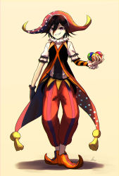 1boy, absurdres, ball, bangs, beige background, black hair, brown gloves, commentary request, danganronpa (series), danganronpa v3: killing harmony, full body, gloves, grin, hair between eyes, hat, highres, holding, holding ball, jester, jester cap, kitsunebi v3kokonn, looking at viewer, male focus, multicolored, multicolored clothes, ouma kokichi, pants, red pants, shirt, short hair, short sleeves, signature, single glove, smile, solo, standing, striped, striped pants, striped sleeves, white shirt