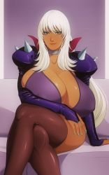 Rule 34 | 00s, 1girl, angel blade, bangs, breasts, bursting breasts, cleavage, collar, collarbone, couch, covered erect nipples, dark skin, dark skinned female, eyebrows visible through hair, eyelashes, facing viewer, female focus, furniture, green eyes, green nails, hand on lap, highres, huge breasts, huge cleavage, jacket, legs crossed, legwear, lips, lipstick, long hair, looking at viewer, lunasanguinis, makeup, nail polish, nailkaiser, pink background, red lips, shiny, shiny hair, silver collar, simple background, sitting, smile, solo, spiked jacket, spikes, thighhighs, very long hair, white eyebrows, white hair