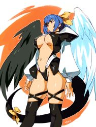 1girl, asymmetrical wings, black tail, black wings, blue hair, breasts, center opening, cleavage, commentary, cowboy shot, dizzy (guilty gear), english commentary, feathered wings, fingernails, from below, guilty gear, guilty gear xx, hair ribbon, hair rings, highres, large breasts, long sleeves, long tail, low twintails, navel, no bra, optionaltypo, over-kneehighs, puffy long sleeves, puffy sleeves, ribbon, skindentation, solo, standing, tail, tail ornament, tail ribbon, thick thighs, thigh strap, thighhighs, thighs, twintails, underboob, white wings, wings, yellow ribbon