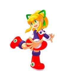 Rule 34   blonde hair, boots, capcom, child, green eyes, long hair, ponytail, ribbon, rockman, rockman (classic), roll (rockman), simple background