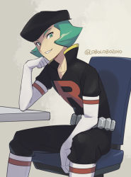 1boy, belt, black headwear, black pants, boots, chair, commentary request, creatures (company), elbow gloves, game freak, gloves, green eyes, green hair, hat, looking at viewer, male focus, momoji (lobolobo2010), nintendo, pants, parted lips, pokemon, pokemon (game), pokemon hgss, popped collar, proton (pokemon), shiny, shiny hair, short hair, sitting, smile, solo, team rocket, white footwear, white gloves