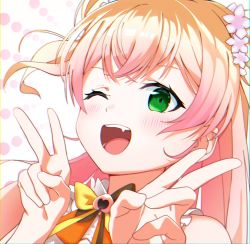 1girl, absurdres, bangs, blonde hair, blush, bow, commentary, crossed bangs, double bun, double v, face, fang, flower, gradient hair, green eyes, hair flower, hair ornament, highres, hololive, kounaien (comic1217), long hair, looking at viewer, momosuzu nene, multicolored bow, multicolored hair, one eye closed, open mouth, pink hair, simple background, smile, solo, two-tone hair, two side up, v, virtual youtuber, white background
