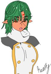 1girl, bangs, black shirt, breasts, brown eyes, buttons, curly hair, dark skin, drawing, green hair, looking at viewer, lowres, open mouth, pixel art, pointy ears, scarf, shirt, short hair, signature, solo, standing, tan, wavy hair