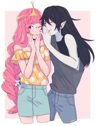 2girls, adventure time, arms up, artist name, bangs, bare shoulders, black hair, black nails, braid, buttons, closed mouth, commentary, crop top, crown, denim, denim skirt, english commentary, eyebrows visible through hair, grey shirt, hair between eyes, hands on own cheeks, hands on own face, highres, jeans, long hair, looking at viewer, marceline abadeer, monnbr, multiple girls, nail polish, off-shoulder shirt, off shoulder, one eye closed, pale skin, pants, parted lips, pink eyes, pink hair, pink nails, pointy ears, princess bonnibel bubblegum, shirt, simple background, skirt, sleeveless, smile, standing, upper body, vampire, very long hair, white background, yellow shirt, yuri