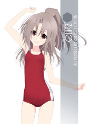 1girl, artist name, brown eyes, character name, commentary request, cowboy shot, flat chest, grey hair, high ponytail, highres, inaba shiki, kantai collection, long hair, looking at viewer, new school swimsuit, one-hour drawing challenge, red swimsuit, school swimsuit, simple background, solo, standing, swimsuit, white background, zuihou (kancolle)