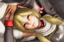 Rule 34 | 1boy, 1girl, 3d, admiral (azur lane), azur lane, bed, blonde hair, blush, breasts, hand holding, heart, highres, honey select, scarf, small breasts, smile, warspite (azur lane)