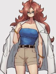 1girl, android 21, belt, black belt, blue eyes, bracelet, breasts, brown shorts, cleavage, closed mouth, dragon ball, dragon ball fighterz, earrings, glasses, grey background, hair between eyes, hoop earrings, jewelry, kemachiku, labcoat, long hair, looking at viewer, medium breasts, red hair, shorts, simple background, solo, thighs