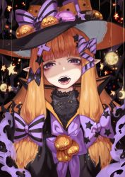 1girl, bangs, black bow, black cat, black headwear, black stripes, blunt bangs, bow, cat, commentary request, doku-chan (dokkudokudoku), fangs, food, half-closed eyes, halloween, hat, highres, horizontal stripes, jack-o'-lantern, lips, long hair, looking at viewer, macaron, original, parted lips, pointy ears, print bow, pumpkin, purple bow, purple eyes, solo, star (symbol), star print, striped, striped bow, tongue, tongue out