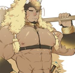 1boy, abs, animal hood, bara, bare pecs, biceps, bursting pecs, carrying under arm, chest harness, collar, dark skin, dark skinned male, facial hair, fang, forked eyebrows, fur (clothing), goatee, gomtang, gullinbursti (tokyo houkago summoners), harness, hood, large pectorals, long sideburns, male focus, mature male, muscular, muscular male, navel, navel hair, nipples, pectorals, red nose, revealing clothes, scar, scar on chest, sheath, sheathed, short hair, sideburns, solo, spiked hair, stomach, sweat, tokyo houkago summoners