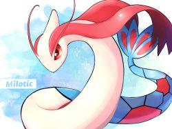 antennae, character name, creatures (company), game freak, gen 3 pokemon, heart, highres, milotic, nintendo, no humans, okoge (simokaji), pokemon, pokemon (creature), red eyes, shiny, signature, solo, symbol commentary