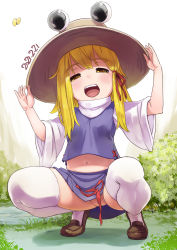 Rule 34 | 1girl, :d, bangs, blonde hair, bug, bush, butterfly, commentary request, convenient censoring, crotch, dated, eyebrows visible through hair, grass, hair ribbon, hand on headwear, hat, insect, kei jiei, kneeling, long sleeves, looking at viewer, medium hair, moriya suwako, naughty face, navel, no panties, nose, open mouth, purple skirt, purple vest, red ribbon, ribbon, shirt, shoes, skirt, smile, solo, teeth, thighhighs, touhou, turtleneck, vest, white legwear, white shirt, wide sleeves, yellow eyes