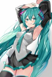 1girl, aqua eyes, aqua hair, aqua nails, aqua neckwear, armpits, arms up, black legwear, black skirt, blush, breasts, clenched teeth, commentary, detached sleeves, eyebrows visible through hair, fingernails, gradient, gradient background, grey background, hair between eyes, hatsune miku, highres, long hair, looking at viewer, medium breasts, nail polish, necktie, pleated skirt, satoupote, skirt, smile, solo, teeth, thighhighs, twintails, very long hair, vocaloid, white background, zettai ryouiki