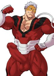 Rule 34   1boy, bara, biceps, bodysuit, boku no hero academia, bulge, character request, cleavage cutout, clothing cutout, fangs, feet out of frame, flexing, grin, highres, huge penis, kirupi, male cleavage, male focus, mature male, muscular, muscular male, pectorals, penis, pose, red bodysuit, short hair, sideburns, smile, solo, standing, thighs, vambraces