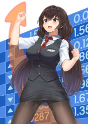 1girl, arrow (symbol), bad id, bad pixiv id, black eyes, black hair, blush, breasts, business, business suit, buttons, collared shirt, eyebrows visible through hair, formal, highres, korean commentary, korean text, large breasts, long hair, meme, miniskirt, necktie, open mouth, original, pantyhose, pencil skirt, red neckwear, shirt, skirt, solo, soushou nin, suit, twintails, very long hair, waistcoat, white background