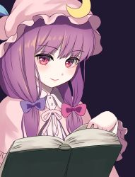bangs, blue bow, blunt bangs, book, bow, breasts, crescent, crescent hat ornament, double bun, douji, dress, hair bow, hat, hat ornament, hat ribbon, lips, long hair, long sleeves, medium breasts, mob cap, multi-tied hair, patchouli knowledge, pink eyes, plump, purple background, purple bow, purple capelet, purple dress, purple hair, purple headwear, red bow, red ribbon, ribbon, smile, striped, striped dress, touhou