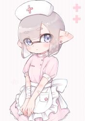 1girl, apron, artist name, back bow, bandage, bandaged arm, bandages, bandaid, bandaid on arm, bandaid on ear, bangs, blue eyes, blunt bangs, blunt ends, bob cut, bow, closed mouth, commentary, domino mask, dress, earrings, eyebrows visible through hair, eyes visible through hair, frilled apron, frills, hat, high collar, highres, inkling, jewelry, light frown, looking at viewer, mask, mole, mole under eye, nintendo, nurse, nurse cap, pink dress, pioxpioo, plus sign, pointy ears, puffy short sleeves, puffy sleeves, short dress, short hair, short sleeves, signature, silver hair, solo, splatoon (series), striped, striped background, tentacle hair, v arms, vertical stripes, waist apron, white apron
