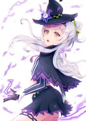 1girl, absurdres, aonikuro, bangs, black capelet, black gloves, black headwear, black skirt, blunt bangs, capelet, commentary request, cowboy shot, cropped shirt, determined, furrowed eyebrows, gloves, grey shirt, hair cones, hair ornament, hairband, half updo, hat, hexagram hair ornament, highres, hololive, hololive alternative, huge filesize, layered capelet, long hair, long sleeves, looking at viewer, lowleg, lowleg skirt, magic, midriff, miniskirt, murasaki shion, open mouth, pink neckwear, pinstripe pattern, pinstripe shirt, purple capelet, shirt, short eyebrows, side bun, sidelocks, silver hair, skirt, solo, striped, striped shirt, thighhighs, thighlet, tilted headwear, vertical-striped shirt, vertical stripes, virtual youtuber, witch hat, yellow eyes