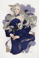 1girl, bare shoulders, blonde hair, blue dress, breasts, closed mouth, collarbone, commentary request, detached sleeves, dress, flower, grey eyes, halterneck, jewelry, lips, long hair, long sleeves, looking at viewer, nail polish, off-shoulder dress, off shoulder, original, pink nails, purple flower, ring, signature, simple background, solo, suda ayaka, upper body, wavy hair, white background
