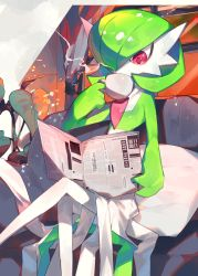 1girl, bangs, bob cut, chair, chikichi, colored skin, couch, creatures (company), cup, curtains, cushion, drink, drinking, female focus, flat chest, game freak, gardevoir, gen 3 pokemon, green hair, green skin, hair over one eye, hand up, highres, holding, holding cup, holding newspaper, indoors, japanese text, jpeg artifacts, legs crossed, looking down, mug, multicolored, multicolored skin, newspaper, nintendo, plant, pokemon, pokemon (creature), potted plant, reading, red eyes, shiny, shiny hair, short hair, sitting, solo, steam, translation request, two-tone skin, white skin, window