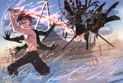2girls, 3boys, agali arept, akamatsu ken, character request, cover, cover page, demon, demon boy, demon girl, dual wielding, extra arms, faceoff, fighting stance, fleurety (uq holder!), glowing, glowing eyes, holding, holding sword, holding weapon, huge weapon, katana, konoe touta, male focus, multiple boys, multiple girls, muscular, muscular male, official art, red eyes, serious, shirtless, short hair, solo focus, space elevator, sword, uq holder!, water, weapon