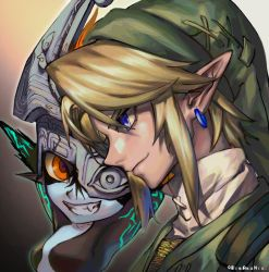 1boy, 1girl, arms up, bangs, bibabunie, blonde hair, colored skin, fang, green tunic, grin, hat, highres, imp, link, mask, mask over one eye, midna, multicolored, multicolored skin, nintendo, orange eyes, pointy ears, sidelocks, simple background, smile, the legend of zelda, the legend of zelda: twilight princess, tunic, twitter username, two-tone skin, upper body