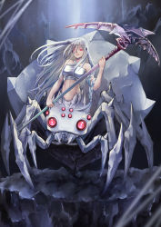 1girl, absurdres, aira (qwedcxza49), arachne, arthropod legs, bangs, bare shoulders, braid, breasts, cave, cave interior, commentary request, extra eyes, eyebrows visible through hair, floating hair, full body, glowing, glowing eyes, hair between eyes, hair strand, halter top, halterneck, highres, holding, holding scythe, insect girl, kumo desu ga nani ka?, kumoko (kumo desu ga nani ka?), large breasts, long hair, looking at viewer, midriff, monster girl, navel, parted lips, red eyes, scythe, shadow, sickle, sidelocks, silk, single braid, solo, spider girl, spoilers, standing, taut clothes, very long hair, white hair, white tubetop