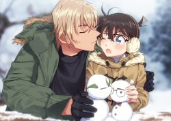 2boys, :o, age difference, amuro tooru, bangs, black-framed eyewear, black gloves, black shirt, blonde hair, blurry, blurry background, blush, brown coat, brown hair, child, closed mouth, coat, commentary request, depth of field, duffel coat, earmuffs, edogawa conan, facing another, fingernails, glasses, gloves, green jacket, hair between eyes, height difference, imminent kiss, jacket, k (gear labo), long sleeves, looking at another, male focus, meitantei conan, multiple boys, open clothes, open jacket, open mouth, outdoors, shirt, short hair, smile, snow, snowman, winter, winter clothes, yaoi