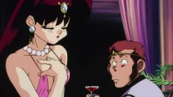 Rule 34 | 1girl, 2boys, animated, bare shoulders, black hair, breasts, brown hair, character request, cleavage, earrings, fangs, hand on own chest, hibiki ryouga, jewelry, kuonji ukyou, large breasts, long hair, looking at another, multiple boys, nakajima atsuko, ranma 1/2, revealing clothes, sexually suggestive, short hair, sweat, talking, tiara, webm