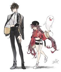 1boy, 1girl, absurdres, bangs, baseball cap, belt, black gloves, black hair, black headwear, black nails, black shorts, bracelet, brown hair, chinese clothes, closed mouth, eyebrows visible through hair, eyeliner, eyes closed, fang, flower, flower-shaped pupils, formal, genshin impact, ghost, gloves, gradient hair, hair between eyes, hat, highres, hu tao, jacket, jacket on shoulders, jewelry, long hair, long pants, long sleeves, looking at viewer, makeup, multicolored hair, nail polish, open mouth, pants, pearl bracelet, ponytail, red eyes, ring, shoes, shorts, simple background, single earring, single glove, skin fang, smile, symbol-shaped pupils, twintails, very long hair, white background, wide sleeves, yellow eyes, zhongli (genshin impact), zoo min