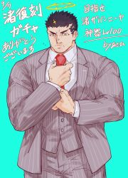 1boy, adjusting clothes, adjusting necktie, bara, black hair, bulge, collared shirt, cowboy shot, facial hair, formal, grey suit, grey vest, halo, highres, jacket, large pectorals, male focus, muscular, muscular male, necktie, official alternate costume, open clothes, open jacket, pants, pectorals, pout, red neckwear, shirt, short hair, solo, striped, striped pants, striped suit, stubble, tokyo houkago summoners, translation request, vest, white shirt, yellow eyes, zabaniya (tokyo houkago summoners), zabaniyan
