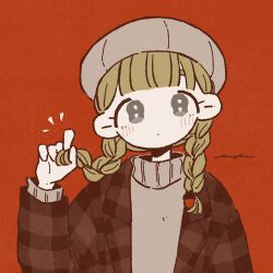 1girl, :|, ^^^, bangs, beret, blonde hair, blunt bangs, braid, closed mouth, expressionless, film grain, grey eyes, grey headwear, hand up, hat, head tilt, highres, holding, holding hair, jacket, keke (kotowari), limited palette, long hair, long sleeves, looking at viewer, low twintails, muted color, no nose, open clothes, open jacket, original, plaid jacket, red background, signature, simple background, solo, tareme, turtleneck, twin braids, twintails, upper body