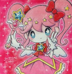 1girl, blue eyes, bow, check copyright, copyright request, dated, gloves, hair bow, hands up, highres, long hair, looking at viewer, magical girl, no nose, original, outline, pink hair, red bow, signature, smile, solo, star-shaped pupils, star (symbol), symbol-shaped pupils, traditional media, twintails, upper body, wand, white gloves, white outline, zukky000