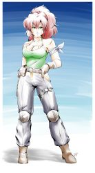 1girl, absurdres, ankle boots, bandage, bandaged arm, bandages, bandaid, bandaid on cheek, belt, belt pouch, big hair, boots, border, borrowed character, brandon fraser, breasts, brown gloves, cleavage, commentary, english commentary, full body, gloves, green eyes, green tank top, highres, knee pads, long hair, looking at viewer, maria (space maria), medium breasts, pants, ponytail, pouch, red hair, scar on arm, scar on breasts, signature, smile, solo, space maria, standing, tank top, thigh strap, white border