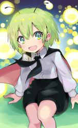 1girl, :d, antennae, aqua eyes, arm support, bangs, black cape, black shorts, blue background, breasts, cape, commentary request, danmaku, dpinkycandy, eyebrows visible through hair, feet out of frame, gradient, gradient background, green hair, hair between eyes, highres, light blush, long sleeves, looking at viewer, open mouth, shirt, short hair, shorts, sitting, small breasts, smile, solo, touhou, white shirt, wriggle nightbug