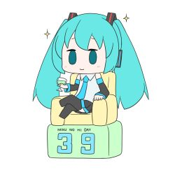 1girl, 39, :3, absurdres, aqua eyes, aqua hair, aqua neckwear, bare shoulders, black legwear, black sleeves, character name, chibi, commentary, couch, cup, detached sleeves, drinking glass, furrowed eyebrows, grey shirt, hair ornament, hatsune miku, headphones, highres, legs crossed, light blush, long hair, necktie, romaji text, shirt, sitting, skirt, sleeveless, sleeveless shirt, smug, solid oval eyes, solo, sparkle, thighhighs, twintails, very long hair, vocaloid, white background, wine glass, yuta1147