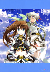 2girls, absurdres, ahoge, aqua eyes, armor, belt, black gloves, black leotard, black shirt, black stripes, blue eyes, blue sky, bow, braid, breasts, brown hair, clenched hand, cloud, cloudy sky, collared jacket, crop top, day, einhart stratos, elbow gloves, english text, eyebrows visible through hair, fingerless gloves, framed image, french braid, fujima takuya, fuuka reventon, gloves, green hair, green jacket, green ribbon, green skirt, hair between eyes, hair bow, hair ornament, hair ribbon, hairclip, heterochromia, highres, jacket, leotard, looking at viewer, lyrical nanoha, magical girl, medium breasts, midriff, multiple girls, official art, outdoors, overskirt, page number, planet, pleated skirt, ponytail, purple eyes, red bow, ribbon, scan, shirt, single stripe, skirt, sky, sleeveless, sleeveless jacket, sleeveless shirt, standing, thighhighs, twintails, vivid strike!, white gloves, white jacket, white legwear, yellow hairclip