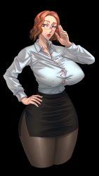 Rule 34 | 1girl, black background, black legwear, black miniskirt, black skirt, blue eyes, breasts, bursting breasts, button gap, buttons, cleavage, collarbone, collared shirt, curvy, dark background, erect nipples, female focus, glasses, hand on glasses, hand on hip, highres, huge breasts, legwear, lips, lipstick, long sleeves, looking at viewer, makeup, miniskirt, nipples, office lady, office worker, orange hair, original, pantyhose, parted lips, pencil skirt, raidou zero, raidouzero, shirt, short hair, skirt, solo, standing, tight shirt, white shirt, wide hips