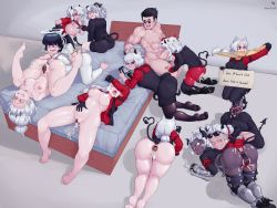 Rule 34   1boy, 6+girls, :d, absurdres, aftersex, anal, anal object insertion, animal ears, apron, arm garter, arm up, azazel (helltaker), bandaid, bangs, bare legs, barefoot, bed, beelzebub (helltaker), bisexual, black-framed eyewear, black hair, black horns, black panties, black suit, black tail, black vest, blue eyes, blush, boots, breasts, cerberus (helltaker), cigarette, closed mouth, clothes writing, commentary, cross, cross necklace, demon girl, demon tail, dog ears, dog girl, everyone, eyebrows visible through hair, eyes closed, fang, feet, fellatio, formal, glasses, gloves, grin, hair between eyes, hair over one eye, halo, harem, heart, heart-shaped pupils, helltaker, helltaker (character), highres, horns, hug, hug from behind, indoors, jacket, jewelry, judgement (helltaker), justice (helltaker), long hair, long sleeves, looking at another, lucifer (helltaker), lying, malina (helltaker), modeus (helltaker), mole, mole under eye, multiple girls, multiple persona, necklace, necktie, object insertion, on stomach, one eye closed, open mouth, oral, pandemonica (helltaker), panties, pantyhose, pondluna, ponytail, red background, red eyes, red shirt, sex, shirt, short hair, sitting, smile, sparkle, spread legs, suit, sunglasses, sweatdrop, symbol-shaped pupils, tail, triplets, underwear, vest, waistcoat, white hair, white horns, zdrada (helltaker)
