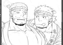 2boys, :q, bara, breath, facial hair, goatee, gomtang, greyscale, happi, implied handjob, infernal deity (tokyo houkago summoners), japanese clothes, large pectorals, looking at another, male cleavage, male focus, mature male, monochrome, multiple boys, muscular, muscular male, old, old man, one eye closed, sexually suggestive, short hair, sideburns, stubble, sweatdrop, thick eyebrows, tokyo houkago summoners, tongue, tongue out, upper body, water deity (tokyo houkago summoners), work in progress, yaoi