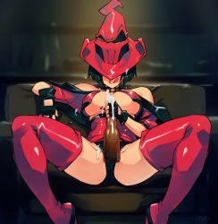 Rule 34 | 1girl, alcohol, beer, black hair, bottle, breasts, cleavage, fingerless gloves, gloves, guilty gear, guilty gear xx, hat, hat over eyes, highres, i-no, jacket, large breasts, leather, licking lips, mole, optionaltypo, red jacket, red leather, red legwear, sexually suggestive, short hair, solo, spread legs, thighhighs, tongue, tongue out, underboob, witch hat