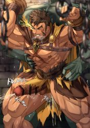 Rule 34   2boys, abs, anal, bar censor, bara, bare pecs, bellsaltr, breath, brown hair, censored, chest harness, colored skin, cross scar, cum, cum in ass, cum while penetrated, ejaculation, erection, facial hair, feet out of frame, flaming eye, goatee, green skin, harness, hercules (tokyo houkago summoners), highres, large pectorals, large penis, legs apart, loincloth, long sideburns, male focus, mature male, monster boy, multiple boys, muscular, muscular male, navel, nipples, nude, official alternate costume, orc, penis, precum, projectile cum, rape, scar, scar on chest, sex, short hair, sideburns, size difference, solo focus, standing, standing sex, stomach, thick thighs, thighs, tokyo houkago summoners, veins, yaoi