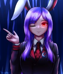 1girl, :3, absurdres, alternate costume, alternate hairstyle, animal ears, bangs, blazer, blouse, breasts, bunny ears, buttons, collared blouse, crescent, crescent pin, eyebrows visible through hair, finger gun, glowing, glowing eye, highres, jacket, large breasts, long sleeves, looking at viewer, necktie, one eye closed, purple hair, red eyes, red neckwear, reisen udongein inaba, renzibun, solo, swept bangs, touhou, upper body, white blouse