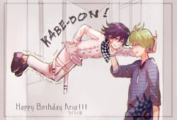 2boys, against wall, amami rantarou, antenna hair, arm at side, bangs, black footwear, buttons, checkered, checkered scarf, danganronpa (series), danganronpa v3: killing harmony, dated, double-breasted, eye contact, from side, green hair, grin, hair between eyes, hakamii, hand on another's chin, hand on hip, happy birthday, highres, jacket, jewelry, legs together, long sleeves, looking at another, multiple boys, necklace, ouma kokichi, pants, purple hair, scarf, shiny, shiny hair, shirt, shoes, short hair, smile, striped, striped shirt, trembling, white jacket, white pants